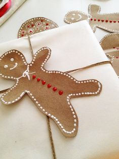 DIY paper bag gingerbread men and festive embellishments
