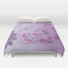 Vintage Birds And Flowers – Lavender and Purple Duvet Cover by Judy Palkimas - $99.00