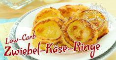 Low-Carb Zwiebel-Käse-Ringe - ein tolles Fingerfood aus wenigen Zutaten blitzschnell im Ofen lecker goldbraun gebacken. Die schmecken warm und kalt.