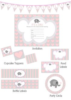 Elephant hearts girl baby shower invitation and decoration printables made by me!