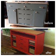 Red dresser redo into tv console