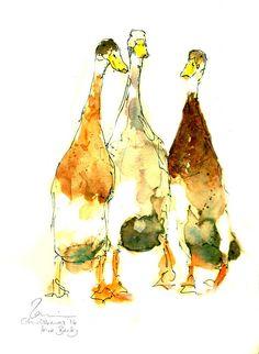 Three Wanderers, Indian Runner Duck Print And Original