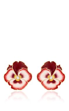 Pansy Enamel Earrings by ALISON LOU for Preorder on Moda Operandi