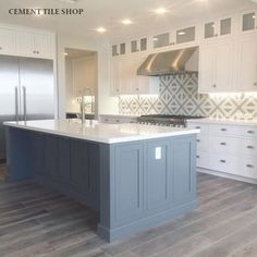 Kitchen Island wrap around Cement Tile Shop - Encaustic Cement Tile Tulum II Blue Kitchen Island, Blue Kitchen Cabinets, Kitchen Cabinet Colors, White Cabinets, Blue Kitchen Ideas, Large Kitchen Tiles, Painted Kitchen Island, Painted Island, Gray Island