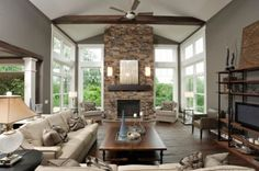 Traditional meets semi-modern fireplace