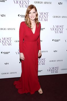 Jessica Chastain attends Giorgio Armani Presents The New York Premiere Of A24's 'A Most Violent Year' at Florence Gould Hall Theater on December 7, 2014 in New York City.