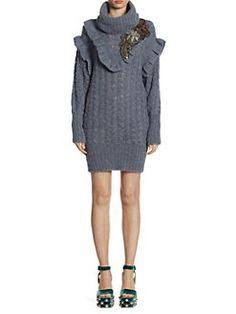d140265bdbed Miu Miu - Cable-Knit Embroidered Alpaca Sweater Dress