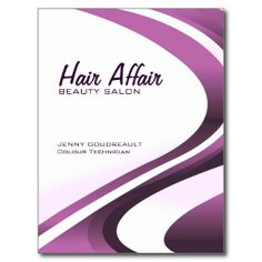 A modern purple and white swirl hair and beauty salon services offered menu postcard.