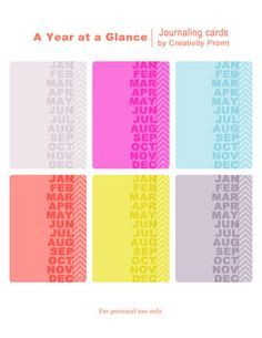 Free  – Year at a Glance – Journaling cards ... #ProjectLife #Scrapbooking