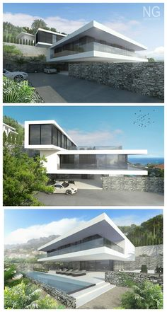 modern 350 beachfront villa in Spain designed by NG architects Minimalist Architecture, Modern Architecture House, Futuristic Architecture, Residential Architecture, Amazing Architecture, Architecture Design, Modern Villa Design, Modern Mansion, Dream House Exterior