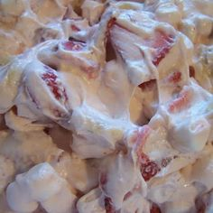 Strawberry Cheesecake Salad: 2oz Cool Whip 1 box cheesecake pudding mix 18oz strawberry yogurt 1 lb fresh strawberries 3 bananas...Stir Cool Whip yogurt