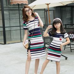 Find More Family Matching Outfits Information about 2016 Summer Matching Mother Daughter Dress Brand Striped Dresses Family Look Mother and Daughter Dress Clothes Party Outfits New,High Quality dress pastel,China dress check Suppliers, Cheap dress rihanna from bingo bluesky's store on Aliexpress.com Mother Daughter Dresses Matching, Mother Daughter Outfits, Mommy And Me Outfits, Matching Family Outfits, Matching Clothes, Dress Outfits, Girl Outfits, Fashion Dresses, Party Outfits