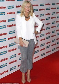 Understated glamour: Alex Fletcher looked a world away from her troubled character Diane O'Connor as she took to the red carpet in a understated yet chic blazer and trousers combo Alex Fletcher, Inside Soap, Soap Awards, Rubber Dress, Hollyoaks, Latex Dress, Hollywood Celebrities, Night Club, Sexy Women