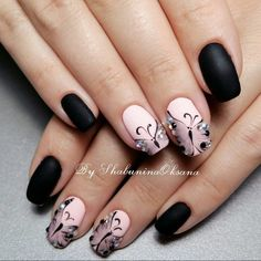 Coupled Matte and Glossy black colors with Glittery enhancement. Boost the look of your hands by covering your nails with this stylish yet attractive nail art design which includes the touch of glittery black nail color along with the base of bold matte b Black Nail Art, Pink Nail Art, Black Nails, Pink Nails, My Nails, Matte Black, Acrylic Nails Natural, Summer Acrylic Nails, Pink Nail Designs