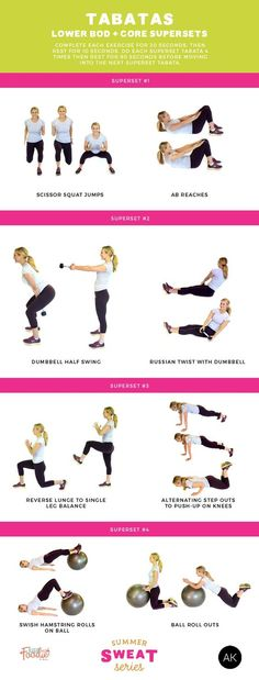 Want a quick yet effective workout? Do tabatas! This workout mixes lower body an… Want a quick yet effective workout? Do tabatas! This workout mixes lower body and core superset exercises and will get your heart pounding! Hiit, Tabata Workouts, At Home Workouts, Workout Routines, Body Workouts, Workout Mix, Printable Workouts, Strength Workout, Motivation