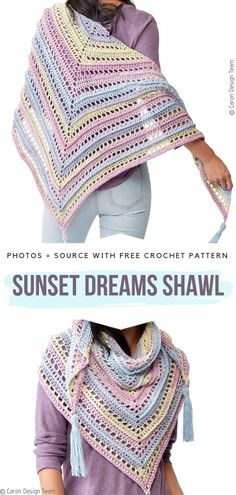 Soft Crochet Shawls Free Patterns Sunset Dreams Shawl Free Crochet Pattern Learn the fact (generic t Crochet Prayer Shawls, Crochet Shawl Free, Crochet Shawls And Wraps, Crochet Scarves, Crochet Clothes, Crochet Stitches, Crochet Hooks, Knit Crochet, Prayer Shawl Crochet Pattern