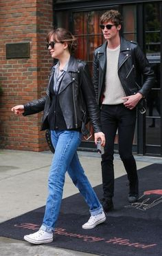 Dakota Johnson Photos - Couple Dakota Johnson and Matthew Hitt are spotted out for a stroll on a rainy day in New York City, New York on May 3, 2016. - Dakota Johnson and Matthew Hitt Rock Matching Jackets in NYC