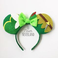 Peter Pan and Tinkerbell Ears, Tinkerbell Half Marathon Ears, Tinkerbell Mickey Ears, Peter Pan Mickey Ears, Tink Ears, Tinkerbell and Peter by ToNeverNeverland on Etsy https://www.etsy.com/listing/511210065/peter-pan-and-tinkerbell-ears-tinkerbell
