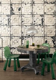 Emerald Chairs in front of old tin tiles