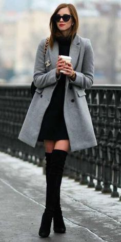 Style Tips On What To Wear With Your Grey Coat Grey Coat Outfits A grey coat knee-high boots ultimate feminine outfit Barbora Ondrackova great for work or an evening out Coat Zara Dress H 038 M Boots Stuart Weitzman Bag Chanel Sunglasses Celine Casual Winter Outfits, Winter Fashion Outfits, Look Fashion, Fall Outfits, Womens Fashion, Feminine Fashion, Fashion Tips, Fashion Ideas, Fashion Inspiration