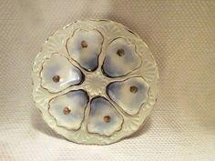 Los detalles sobre China de antigüedades mano porcelana pintada FRANCÉS OYSTER PLACA W / 6 pocillos 1 PLACA