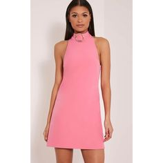 Hamza Pink Ring Detail Backless Shift Dress ($15) ❤ liked on Polyvore featuring dresses, pink, backless dresses, high neckline dress, high neck backless dress, pink shift dress and pink backless dress