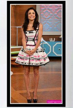 "Buy it: Bethenny Frankel's Pink, Black and White Tweed Party Dress – ""Bethenny"" TV Show"