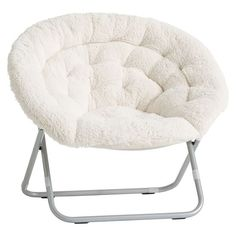 """37"""" wide x 30"""" deep x 31.5"""" high 149 Ivory Sherpa Faux Fur Hang-A-Round Chair   PBteen"""