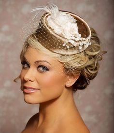 Dark Champagne and Ivory Bridal Hat