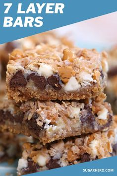"""Seven layer bars, sometimes called """"magic bars,"""" are one of the easiest bar cookie recipes you can make--and one of the tastiest! Even though they have seven distinct layers, it only takes a few minutes to assemble them, and you will LOVE all the different flavors and textures, from melted chocolate and butterscotch to gooey coconut! #sugarhero #sevenlayerbars #7layerbars #magicbars #hellodollybars"""