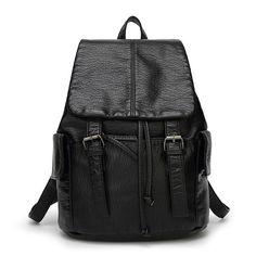 Compre mochila de cuero negro de marca para femenina bolsos outlet online España [AL93104] - €54.40 : bzbolsos.com, comprar bolsos online