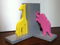 Yellow Giraffe and Pink Elephant Bookends  by ProfessorFinley, $34.00