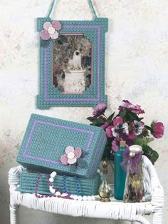 Plastic Canvas - Frames - Summer Enchantment Vanity Set