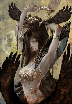 Crazily good concept art > Crow queen by tahra http://www.deviantart.com/art/Crow-queen-545525084?utm_content=bufferc5024&utm_medium=social&utm_source=pinterest.com&utm_campaign=buffer #conceptart #fantasyart