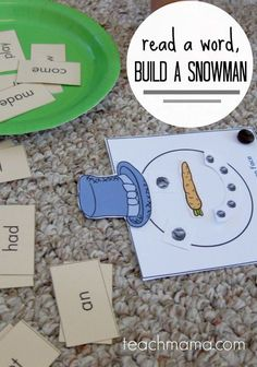 early literacy game for kids: read a word, build a snowman | free printable | teachmama.com #weteach