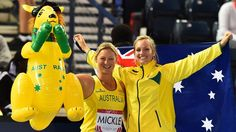 Kim Mickle and Kelsey-Lee Roberts celebrate their gold and bronze medals in the women's javelin on day seven. The next Commonwealth Games will be held in Australia's Gold Coast in 2018.