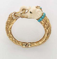 Van Cleef And Arpels Jewelry, Van Cleef Arpels, Aquamarine Jewelry, Gold Jewelry, Gold Bangles, Bangle Bracelets, Ivory Elephant, Elephant Head, Animal Jewelry