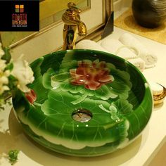 Classic Painting Lotus Porcelain Art Lavatory Sink Wash Basin Green Bathroom Countertop Sink - ICON2 Luxury Designer Fixures   #Classic #Painting #Lotus #Porcelain #Art #Lavatory #Sink #Wash #Basin #Green #Bathroom #Countertop #Sink