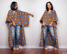Kaftan Kurti, Kaftan Tops, Poncho Tops, African Print Fashion, African Fashion Dresses, African Dress, African Prints, African Print Shirt, African Clothes