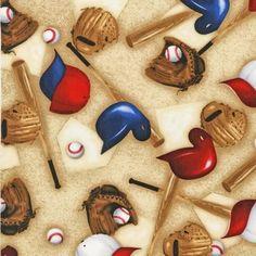 Baseball Sports Life Gloves Hats Bats Tans by Yards Robert Kaufman ... : baseball fabric for quilting - Adamdwight.com