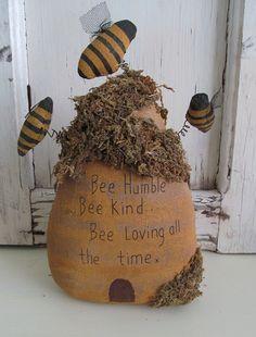 Primitive Fabrick Bee Humble Bee Skep /  Hive