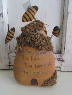 Primitive Fabrick Bee Humble Bee Skep / Hive . Should make a sign for the bee yard with this. Sweet.