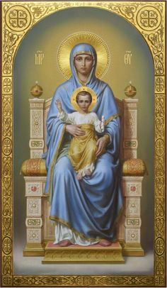 Theotokos on the throne, academic icon Religious Images, Religious Icons, Religious Art, Jesus Christ Images, Jesus Art, Blessed Mother Mary, Blessed Virgin Mary, Religion, Virgin Mary Art