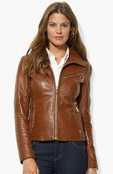 Lauren Ralph Lauren Zip Front Leather Jacket