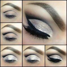 grey sparkly eye makeup