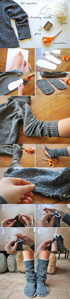 How to Make Sweater Slipper Boots  ✿Teresa Restegui http://www.pinterest.com/teretegui/✿