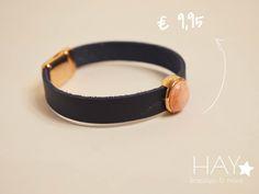 Armband met steen | Zalmroze/ blauw