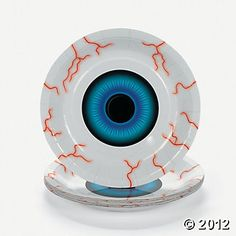 Halloween Eyeball Serving Plates - these are pretty cool Halloween serving plates. Put your gross party food on it or just add more eyeballs. Check out some of the eyeball candies you can find on the page the plate is on. Teen Halloween Party, Halloween Eyeballs, Halloween Goodies, Halloween Ideas, Halloween 2015, Halloween Tablecloth, Halloween Table Runners, Diy Birthday Decorations, Birthday Diy