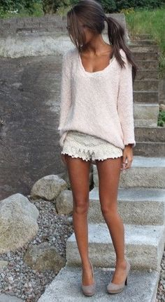 sweater+white lace...