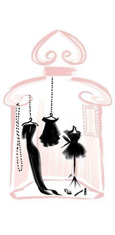 Le dressing parfumé La Petite Gown Noire ~ what a beautiful little art work! Parfum Guerlain, Illustrations, Illustration Art, Bellatrix, Fashion Sketches, Cute Wallpapers, Perfume Bottles, Fragrance, Drawings